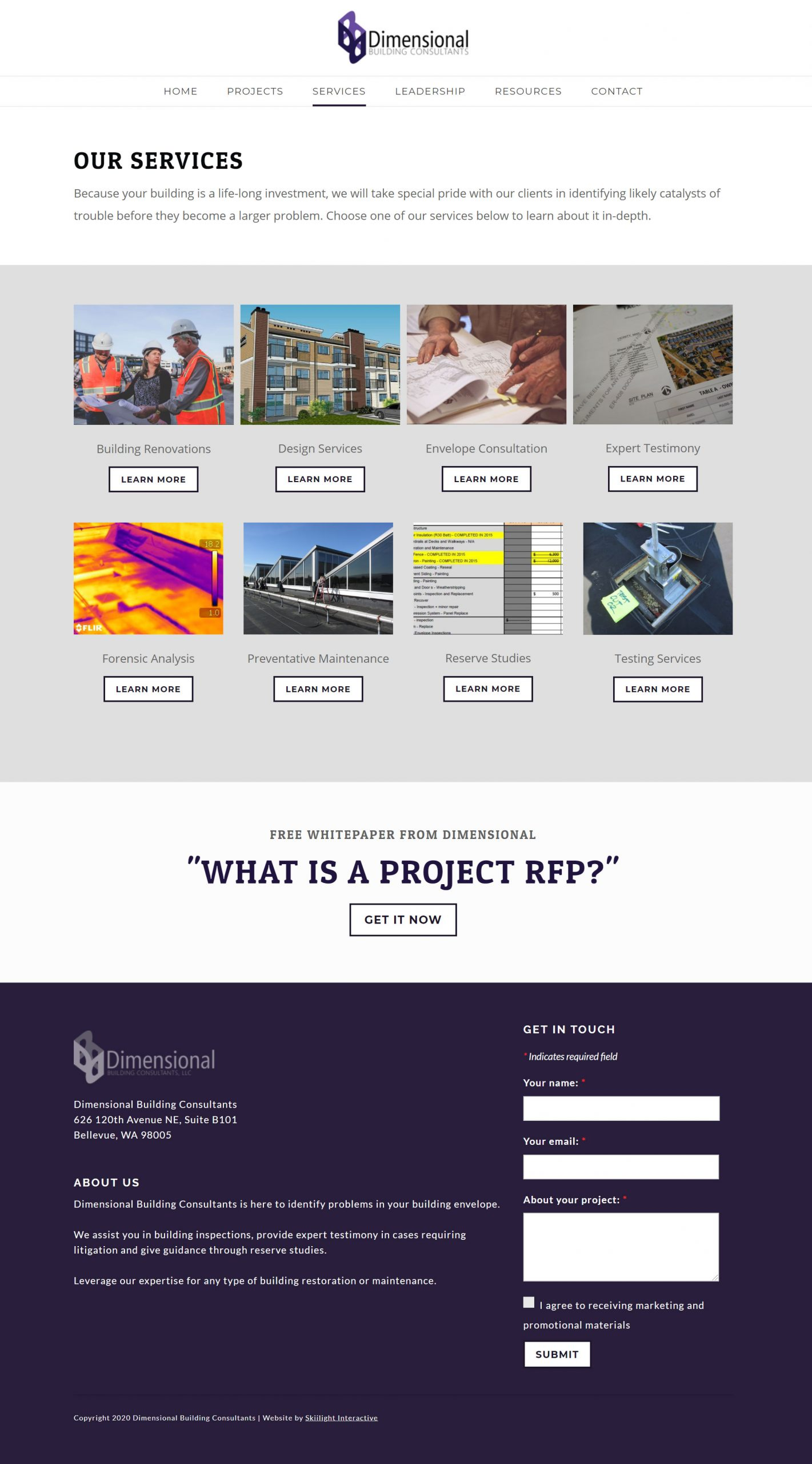 Dimensional Building Consultants new website
