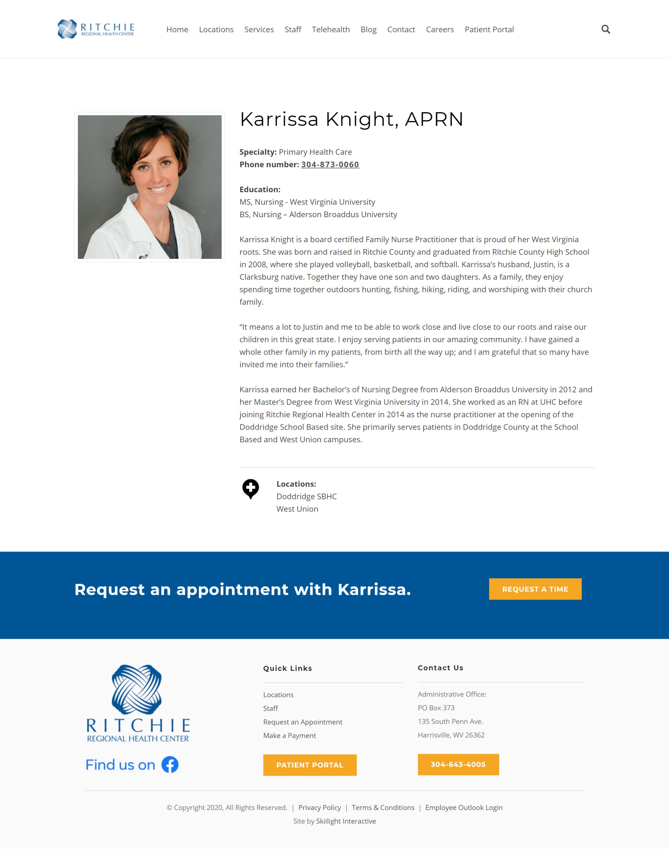 Ritchie Regional Health Center Website